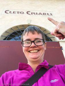 Annie Wilcox selfie at Cleto Chiarli