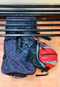luggage & rucksack secured by cable and padlock