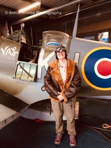 Annie Wilcox dressed in flying gear at Spitfire & Hurricane Memorial Museum